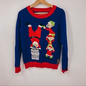 Tipsy Elves Santa Keg Stand Graphic Funny Sweater